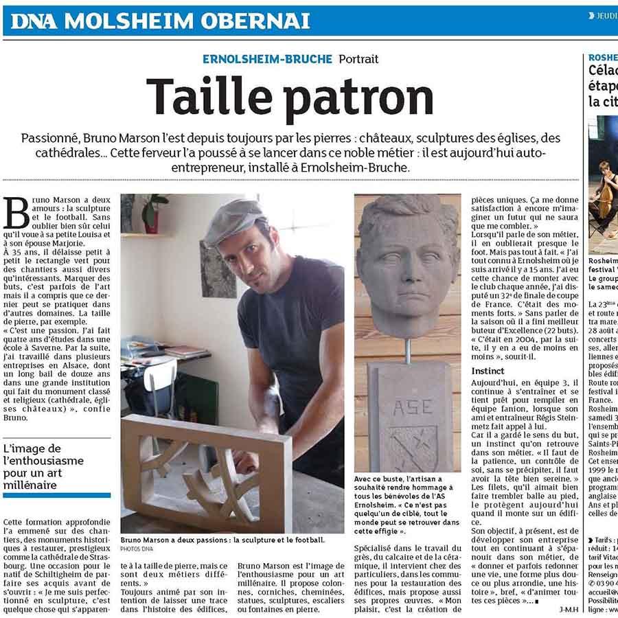 Article DNA-Bruno Marson-Taille Patron-Tailleur de pierre Strasbourg Ernolsheim-Bruche_square size_900x900px