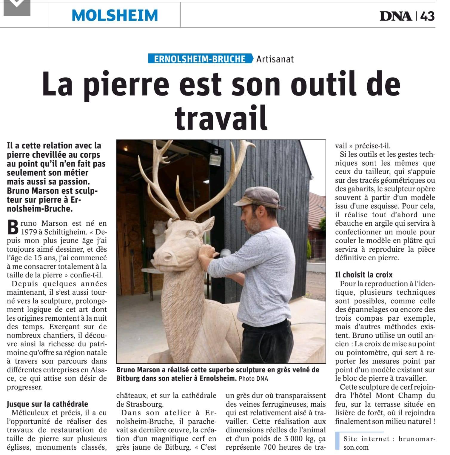 Article DNA-bruno marson tailleur de pierre et sculpteur ernolsheim bruche strasbourg