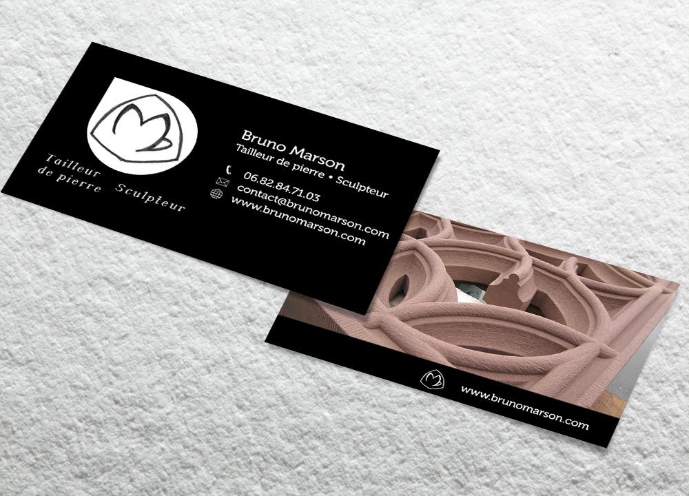 Business-Cards-Bruno Marson tailleur de pierre et sculpteur-Strasbourg Ernolsheim-Bruche Alsace Bas-Rhin 67