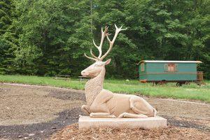 Sculpture cerf en grès